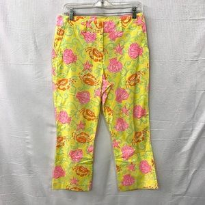 Lilly Pulitzer Yellow Sea Themed Shell Print Pants